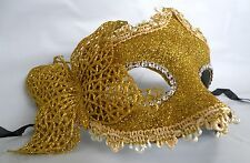 Gold Glitter Venetian Masquerade Party Mask With Butterfly - * New *