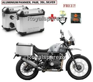 Royal Enfield Himalayan Aluminum Panniers Pair Silver 26 L with FREE OIL FILTER