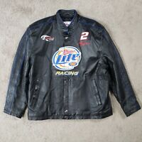 Chase Authentics Leather Jacket XL RUSTY WALLACE Nascar Miller Lite Embroidered