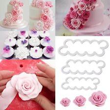 3tlg. Rosen Ausstecher Silikonform 3D-Blumen Muffins Keksen Fondant Tortendeko