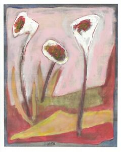 FADED NATURE original abstract/folk/outsider? Canadian mixed media  J.Swinton NR