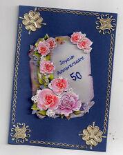 3D Glückwunschkarte zum 50. Geburtstag,Grußkarte,blau,Blumen,K4