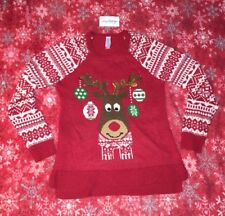 0ceef0f919 No Boundaries Large Ugly Holiday Reindeer Thin Sweater Christmas Juniors (11 -13)