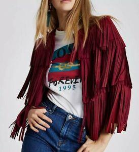 Red River Island Tassel Suede Coachella Festival Fringe Jacket Size 8 BNWT