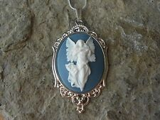 GUARDIAN ANGEL CAMEO SILVER NECKLACE - QUALITY - RELIGIOUS - BLUE