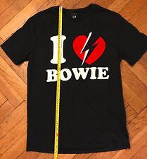 """EUC  """"I ♡ love Bowie"""" black T shirt, Men's Small 100% Cotton - David Bowie Rock"""