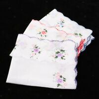 Prettyia 3pcs Womens Cotton Floral Lace Handkerchief Hanky Kerchief Hankies