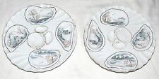 "Registrirt TWO 8.1/4"" Oyster Plates - decorated with four Blue & Brown scenes"