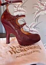 VIVIENNE WESTWOOD LEATHER ELEVATED 3 STRAP GHILLIES HIGH HEEL SHOES  SZ 34 / 35