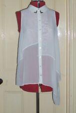 g:21 by George size 12 cream chiffon asymmetric collared sleeveless blouse