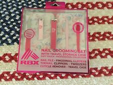 New In Box Rbx 6 Piece Manicure Grooming Kit With Travel Case Pink/Flowers