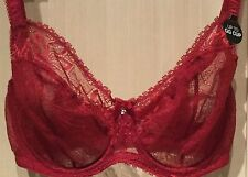 M&S New   DD+ Full Cup See Through Embroidery Pattern Lace /Mesh Bra Red 36G