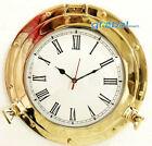 "20"" Antique Marine Solid Brass Ship Porthole Analog Clock Nautical Wall Hanging"