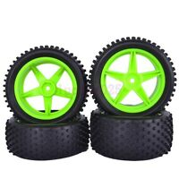 RC 1:10 OFF-Road Buggy Car Front & Rear Tyre Tires Green Wheel Rim 66007-66027