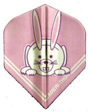 Dart Flights- 5 Pink Metallic Bunny Rabbit Stand. Sets