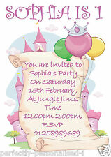 Personalised Childrens Birthday Party Invite / Invitations Princess Castle x10