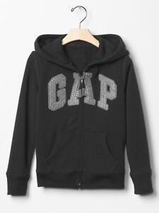 GAP Girl Logo Zip Hoodie Fleece True Black Gray Sparkle Arch Logo Jacket 4-5 6-7