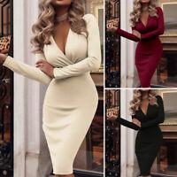 ZANZEA 10-24 Women Long Sleeve Midi Shift Dress V Neck Plus Size Bodycon Dress