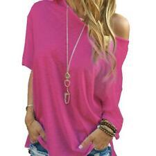 Women Summer Loose Blouse Short Sleeve Tops Oversize Off Shoulder T-Shirt CA