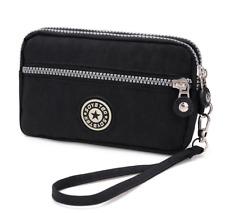 Black Zipper Wristlet Bag Purse Pouch For Samsung Galaxy Note 9 /J8 / LG Stylo 4