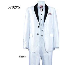 Men's 3-Piece Slim Fit Suit Wool Feel Shark Skin Look w. Pants and Vest 5702V5