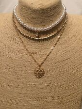 Statement Beaded Faux Pearl Crystal Chain Choker Necklace Heart Cross Pendant