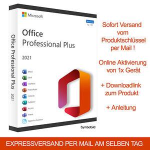 Microsoft Office 2021 Professional Plus Retail Word Exel Outlook Produktkey DE
