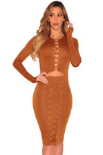 Brown Lace up Cut out Long Sleeves Bodycon Party Dress