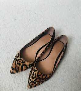 ALDO £88 LEOPARD Brown ANIMAL PRINT LEATHER Pony Calf Hair Pointed FLAT Shoes