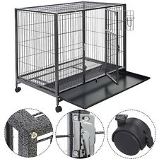 Goplus Black 44'' Dog Crate Kennel Heavy Duty Metal Wire Pet Playpen w/ Tray Pan