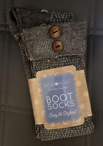 New Cuff Sock Knit Boot  grey gray 1 pair Sofia vitali