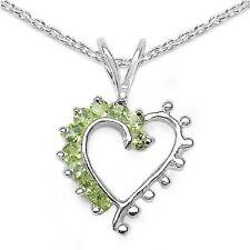 Collier/Halskette mit Peridot-Herz Anhänger 925-Silber Rhodiniert