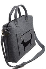 Dachshund Waldi Handmade Wool Felt Hand Shoulder Bag Grey Sausage Dog Dackel