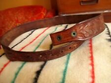 sz 32 True Vtg 50s LEATHER Cowboy HAND TOOLED Western Cowboy Belt  USA