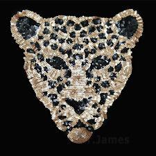 1x Big Sequins Leopard Head Sew On Patch Badges Lace Fabric Applique DIY