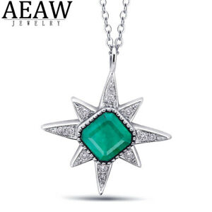 0.8carat Emerald Green Stone Pendant Necklace With Diamond Solid 14K White Gold