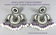 CARLOS GUTIERREZ~Oaxaca~'EL EME' (M) Pearl/Amethyst Filigree 925 Dangle Earrings