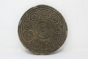 Antique Hand Carved Tribal Floral Stone Cookies Mold Dye Plate Rolling Plate