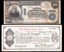 RARE 1902 $10 ST. ALBANS, VT National Banknote!  Matching Ad note from bank!