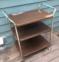 Vintage Mid Century Metal 3 Tier Cosco Wood Grain Metal Rolling Kitchen Cart