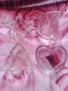 Four Glass Dishes For Candles. Heart, Moon, Star And Tree