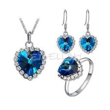 Fashion Rhinestone Crystal Blue Ocean Heart Necklace Earring Ring Jewelry Set