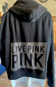 Victorias Secret Pink HTF Jeweled Bling Hoodie Large #M06