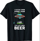 Funny Alien and UFO Redneck Fishing Beer Graphic  Black T-Shirt