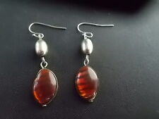 Pair White Metal Costume Earrings Amber Imitation Jewels Stones 1.5 inch drop
