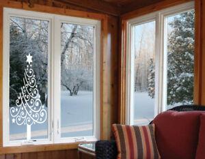 Christmas tree Santa window love Wall Stickers Art Room Removable Decals DIY