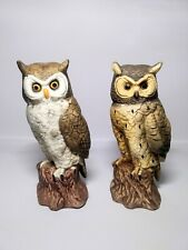 Vintage Pair of Ceramic Horned Owl Statues Detailed Hooters Hand Painted Decor