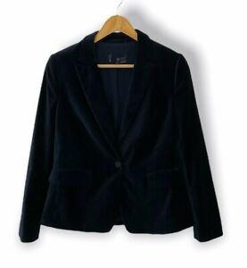 Marks And Spencer Women's Single Breasted Dark Blue Velvet Blazer
