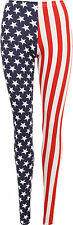 Ladies Stars And Stripes Leggings Womens Full Length USA Red White Blue 8  -14
