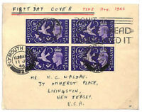 T303 1946 GB BLOCK OF FOUR FDC Plymouth VICTORY/PEACE Slogan First Day Cover